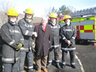 Hywel thanking the Tyrogenics Fire Crew at the major fire at Baglan Industrial Park