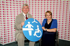 Hywel  with Dame Tanni Grey-Thompson promoting the Changing Places Toilets campaign